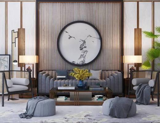 下得乐2019季千套模型, 新中式, 多人沙发, 沙发凳, 茶几, 单人沙发, 台灯, 摆件