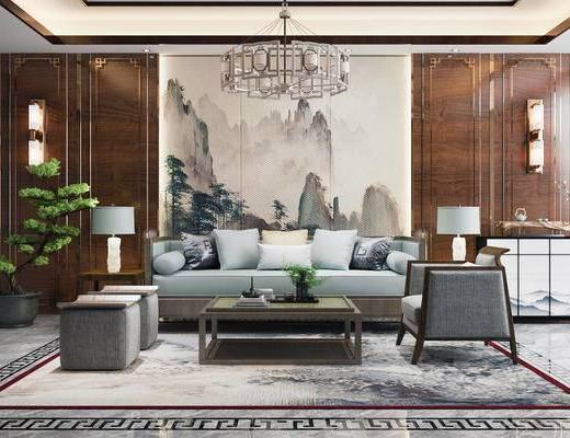 新中式, 多人沙发, 单人沙发, 茶几, 台灯, 摆件, 吊灯