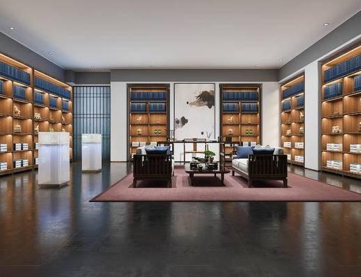 下得乐2019季千套模型, 新中式, 书房, 双人沙发, 茶几