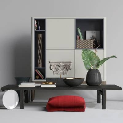 下得乐品牌模型库, 新中式, 边柜, 桌子, 摆件