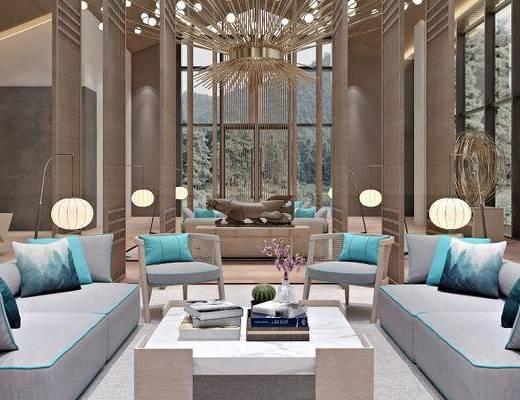 下得乐2019季千套模型, 新中式, 酒店大堂, 多人沙发, 茶几, 吊灯