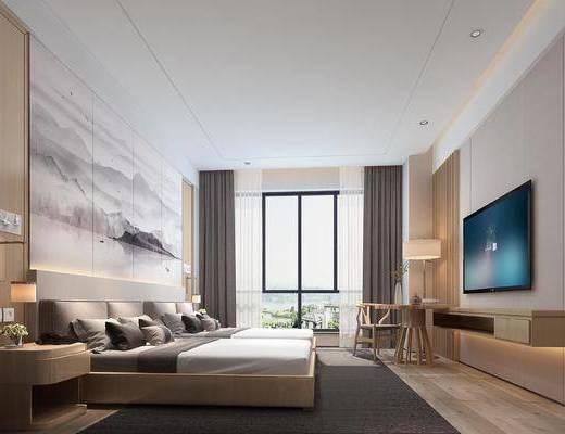 下得乐2019季千套模型, 新中式, 套房, 酒店客房, 双人床, 单椅, 台灯, 床头柜
