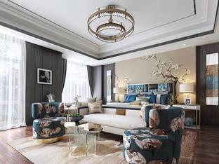 新中式酒店客房3D模型_3d模型