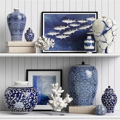 2000套国外模型, 新中式, 陈设品, 摆件, 花瓶, 青花瓷