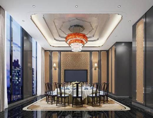 下得乐2019季千套模型, 新中式, 餐厅, 包间, 餐桌, 桌椅组合, 吊灯, 单椅