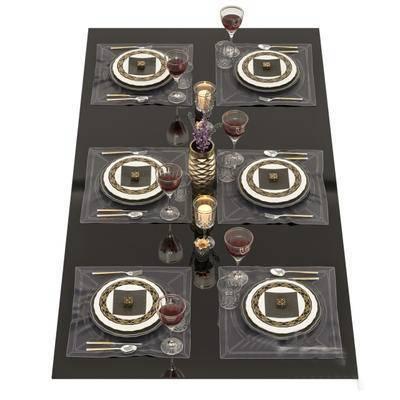 2000套高精3D单体模型, 新古典, 餐具, 餐具组合