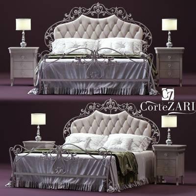 2000套高精3D单体模型, 欧式, 双人床, 床具, 边柜, 台灯, 床头柜