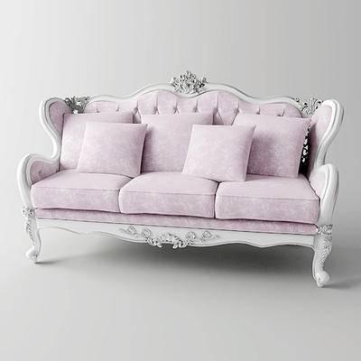 下得乐品牌模型库, 欧式, 双人沙发