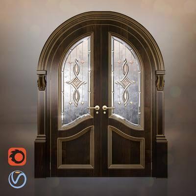 2000套高精3D单体模型, 欧式, 双开门, 构件, 门