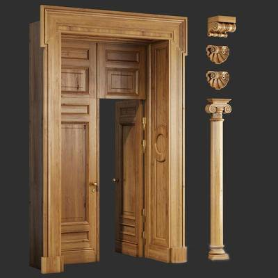 2000套高精3D单体模型, 欧式, 双开门, 门