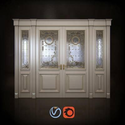 2000套高精3D单体模型, 下得乐品牌模型库, 欧式, 双开门, 门