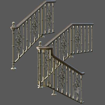 2000套高精3D单体模型, 欧式, 扶手, 栏杆, 楼梯扶手