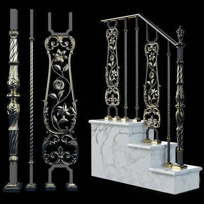 2000套高精3D单体模型, 欧式, 楼梯扶手, 栏杆