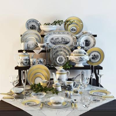 2000套高精3D单体模型, 欧式, 碗碟, 摆件, 茶壶, 餐具
