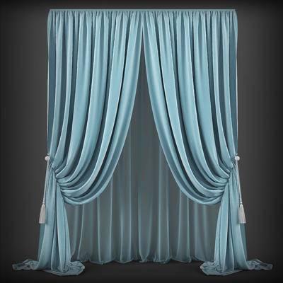 2000套高精3D单体模型, 欧式, 窗帘