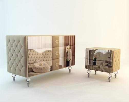 下得乐品牌模型库, 欧式, 置物柜, 边柜
