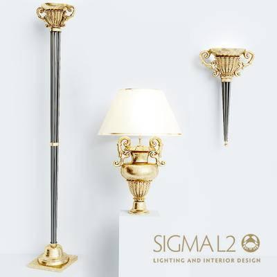 2000套高精3D单体模型, 欧式, 落地灯, 灯饰, 壁灯, 台灯