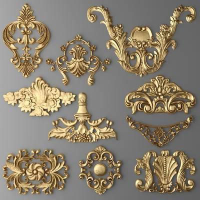 2000套国外模型, 下得乐品牌模型库, 欧式, 金属雕花, 雕花