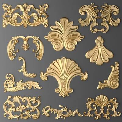 2000套国外模型, 下得乐品牌模型库, 欧式, 雕花, 金属雕花