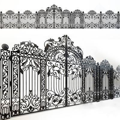 下得乐品牌模型库, 欧式, 铁门, 平开门, 门