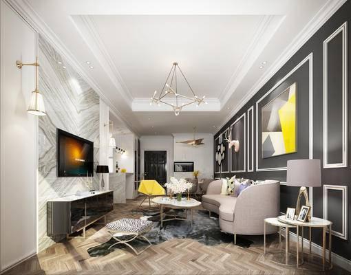 1000套空间酷赠送模型, 现代, 多人沙发, 电视柜, 台灯, 吊灯, 边几, 茶几, 摆件, 壁灯