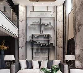 水岸联排新中式别墅样板房新中式复式别墅客厅3D模型3_3d模型