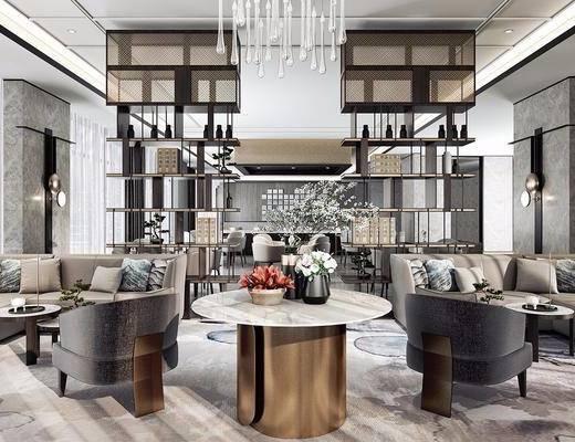 下得乐2019季千套模型, 现代, 会客区, 休闲区, 多人沙发, 单人沙发, 茶几