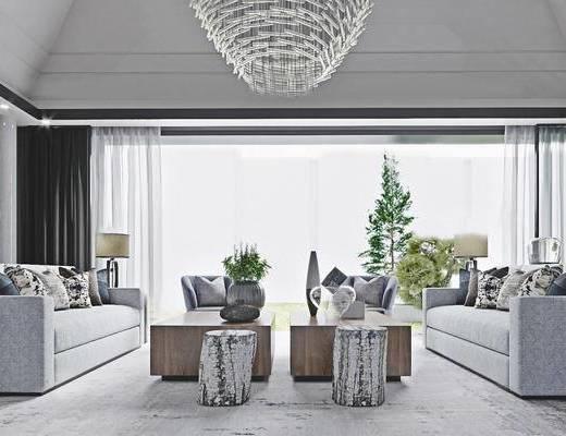 1000套空间酷赠送模型, 现代, 客厅, 多人沙发, 茶几, 摆件, 边几, 吊灯