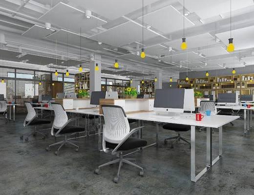 下得乐2019季千套模型, 现代, 办公室, 桌椅组合