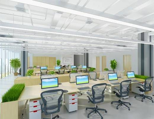 下得乐2019季千套模型, 现代, 办公室, 办公椅, 电脑, 电脑桌
