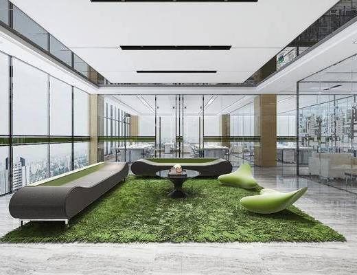 现代, 办公室, 休闲区, 洽谈区