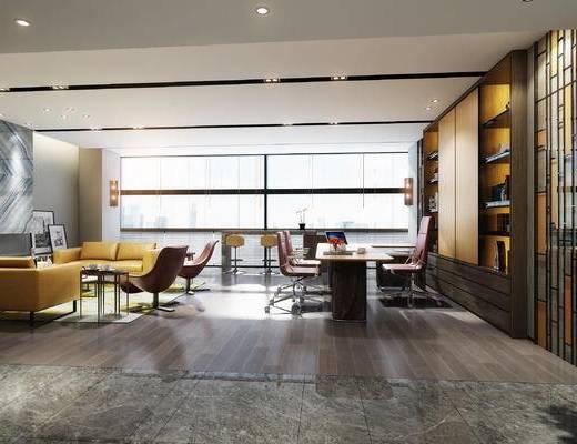 下得乐2019季千套模型, 现代, 办公室, 多人沙发, 茶几, 办公椅
