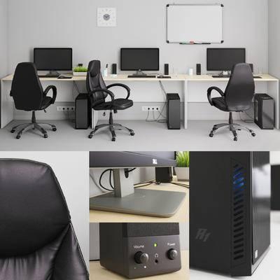 现代, 办公室, 办公椅, 电脑桌