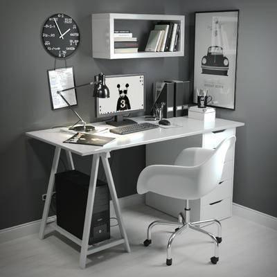 现代, 办公椅, 办公桌, 摆件, 台灯