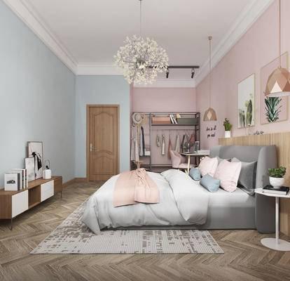 下得乐2019季千套模型, 现代, 卧室, 北欧