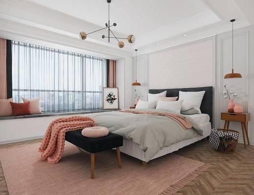 下得乐2019季千套模型, 北欧, 卧室, 双人床, 边几