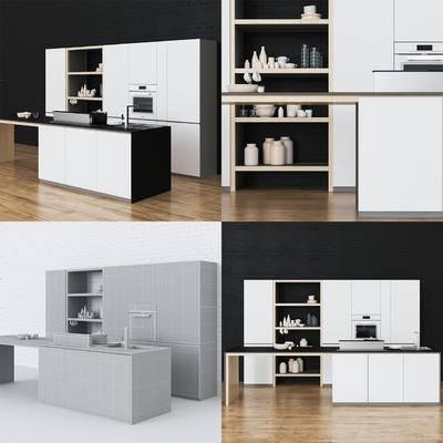 2000套高精3D单体模型, 北欧, 厨房, 橱柜