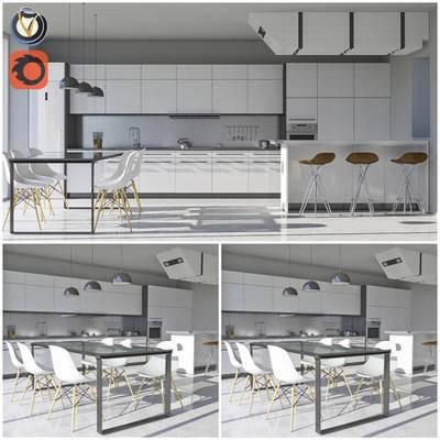 2000套高精3D单体模型, 北欧, 厨房, 橱柜, 单椅, 餐桌