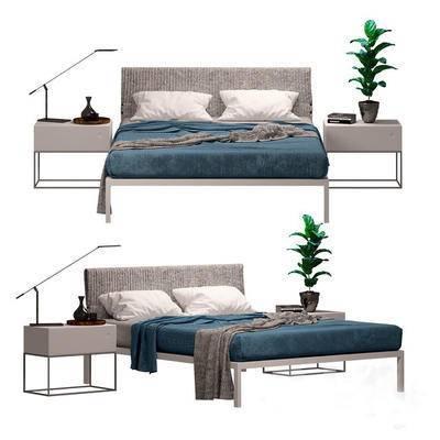 2000套国外模型, 北欧, 双人床, 床具