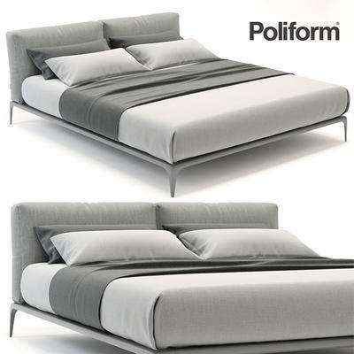2000套高精3D单体模型, 北欧, 双人床, 床具