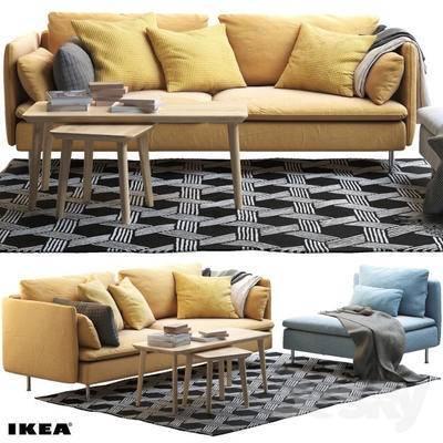 北欧, 双人沙发, 沙发, 茶几