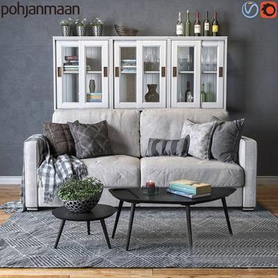 2000套高精3D单体模型, 北欧, 双人沙发, 茶几