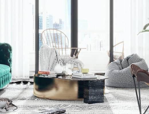 下得乐2019季千套模型, 北欧, 客厅, 单椅, 多人沙发, 沙发凳