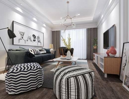 北欧, 客厅, 软包, 多人沙发, 电视柜, 落地灯, 吊灯, 茶几