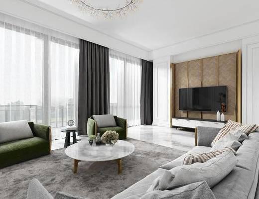 下得乐2019季千套模型, 简欧, 客厅, 多人沙发, 沙发, 电视柜, 茶几