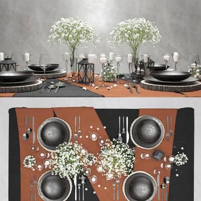 2000套高精3D单体模型, 北欧, 餐具, 餐桌