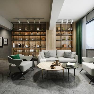 下得乐2019季千套模型, 现代, 北欧奶茶店, 桌椅组合
