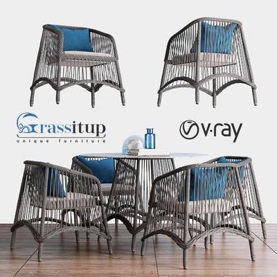 2000套高精3D单体模型, 北欧, 餐桌, 桌椅组合, 单椅