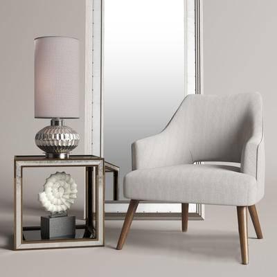 2000套国外模型, 现代, 沙发, 单人沙发, 台灯, 边几