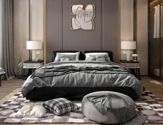 下得乐2019季千套模型, 现代, 卧室, 双人床